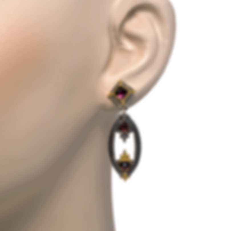Konstantino Sterling Silver & 18k Yellow Gold & Rhodolite Earrings SKKJ650-128