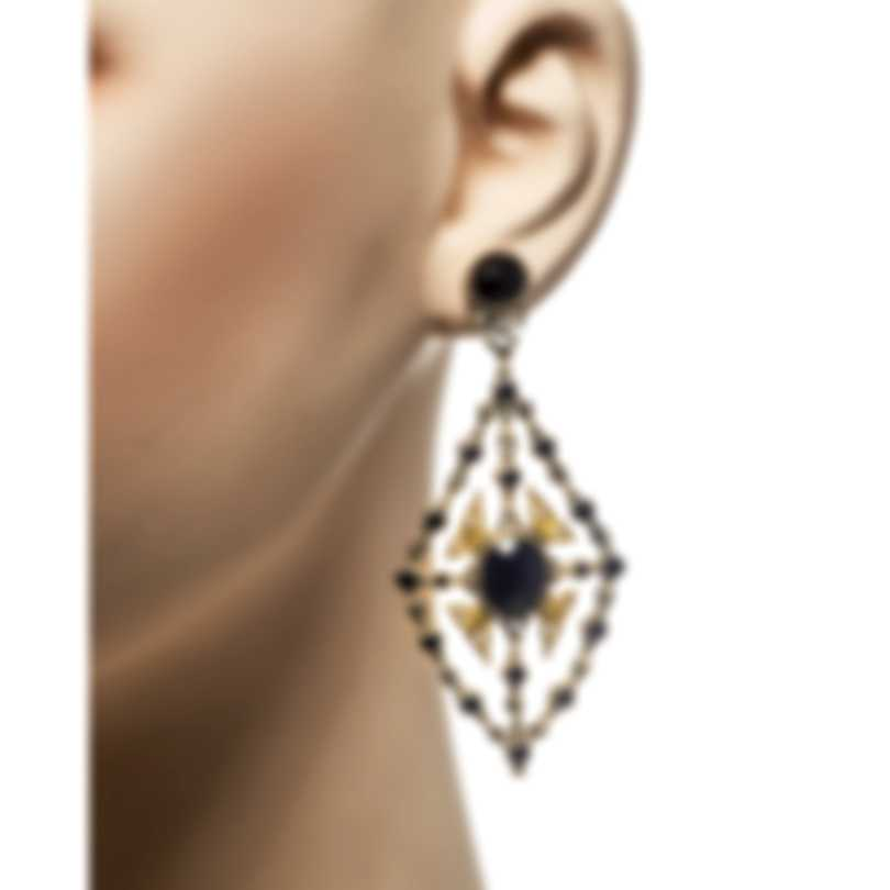 Konstantino Sibylla Sterling Silver & 18k Yellow Gold Onyx Earrings SKMK3039-314