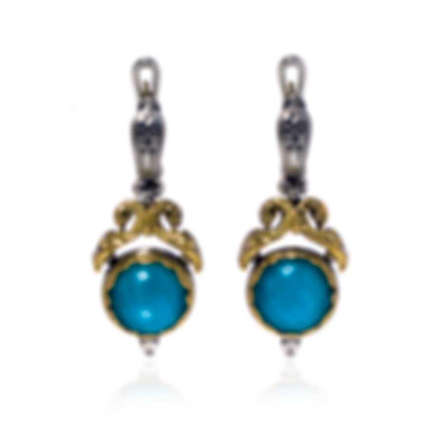Konstantino Sterling Silver & 18k Yellow Gold & Chrysocolla Earrings SKMK3082-37