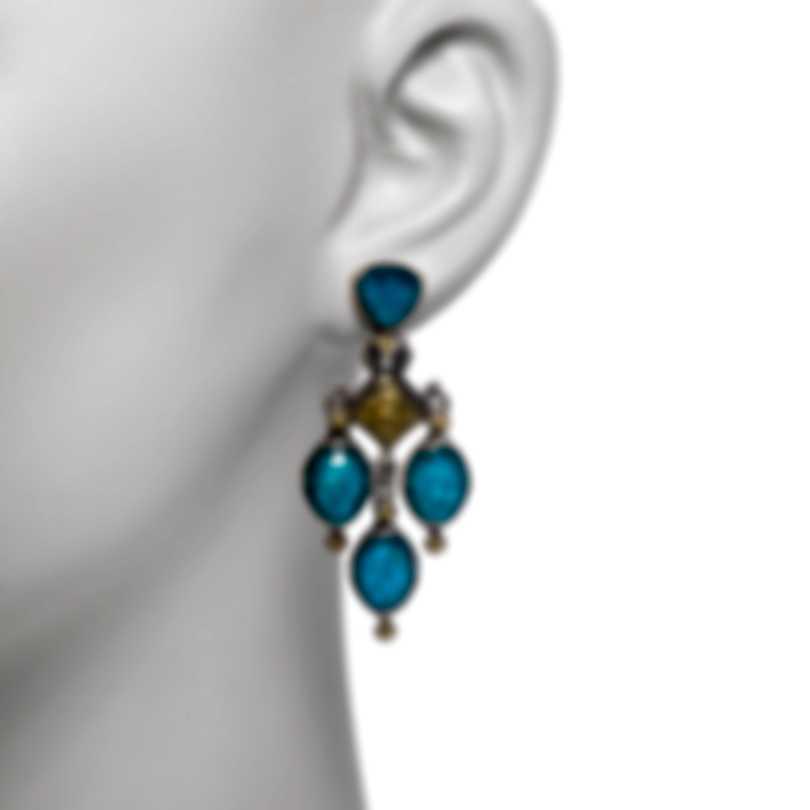 Konstantino Sterling Silver & 18k Yellow Gold & Chrysocolla Earrings SKMK3090-37