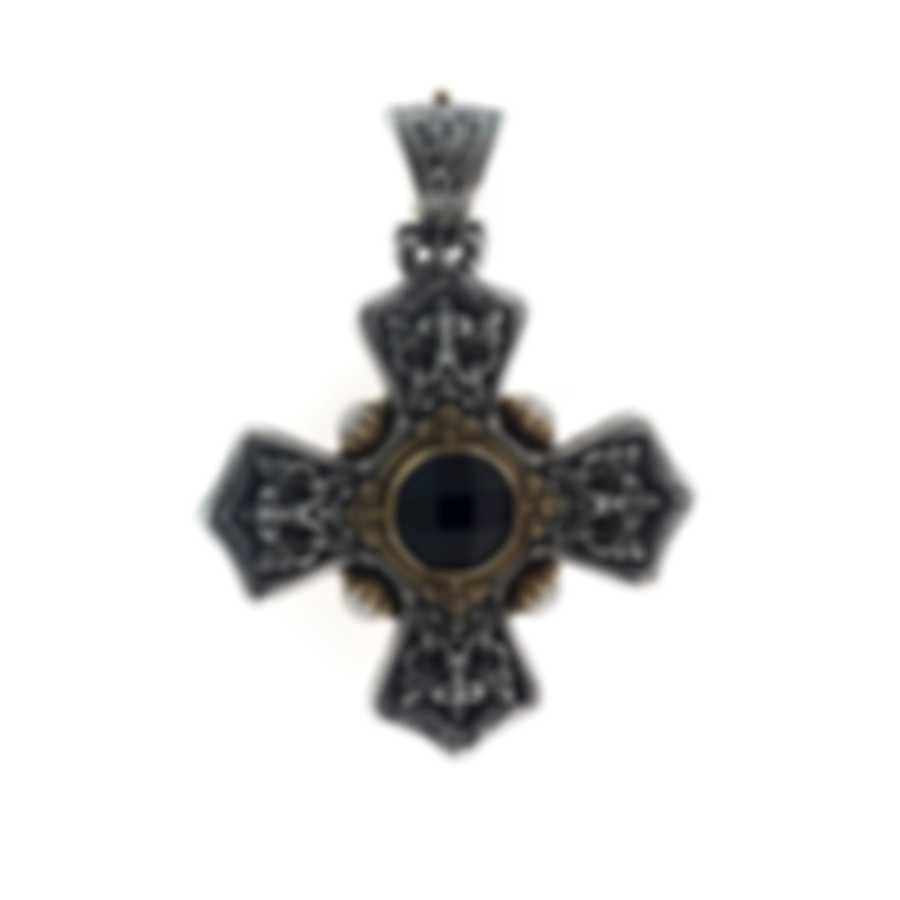 Konstantino Nykta Sterling Silver And 18k Yellow Gold And Onyx Pendant STMK6924-224-CUT