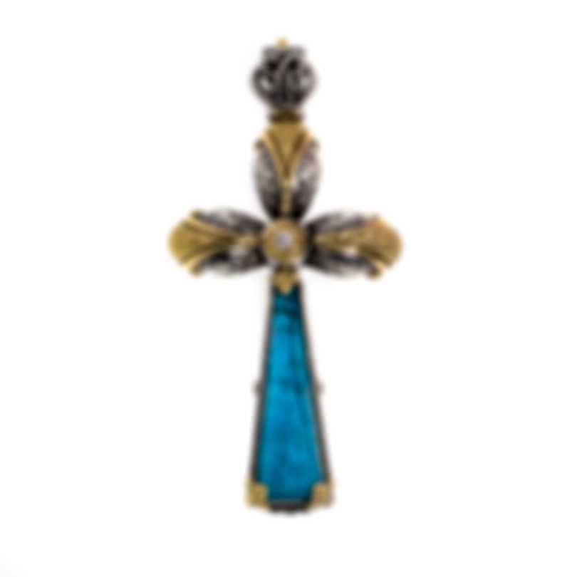 Konstantino Sterling Silver & 18k Gold Diamond & Chrysocolla Pendant STMK6961-37