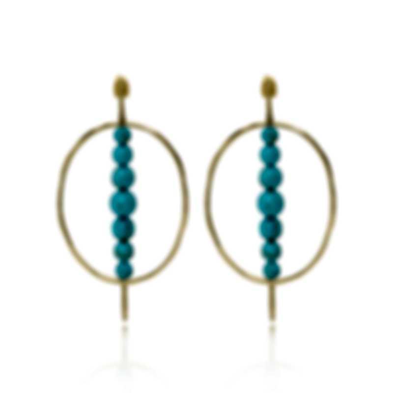 Ippolita 18k Yellow Gold And Turquoise Nova Earrings GE1980TQGM