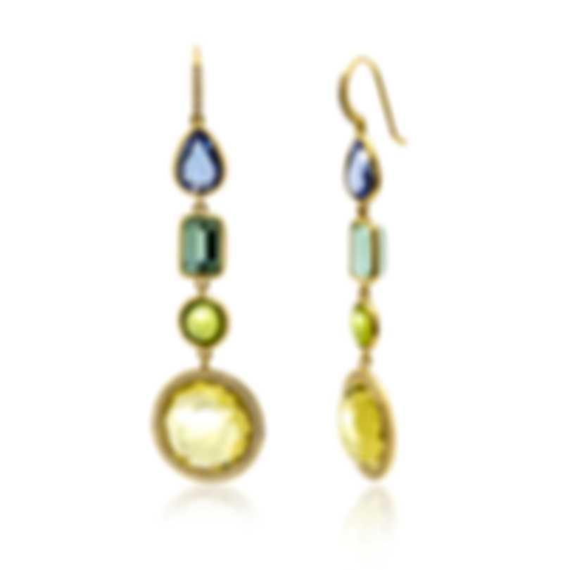 Ippolita 18k Yellow Gold Diamond & Blue Topaz Rock Candy Earrings GE2004ELEVMATDIA
