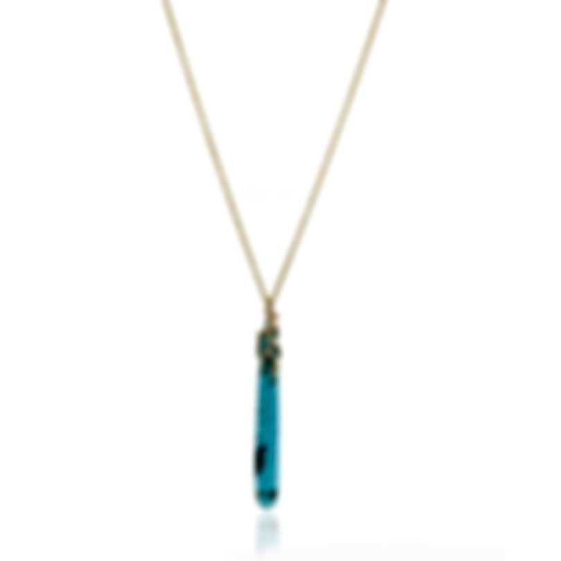 Ippolita 18k Yellow Gold Diamond And Turquoise Rock Candy Necklace GN1494TQGMDIA