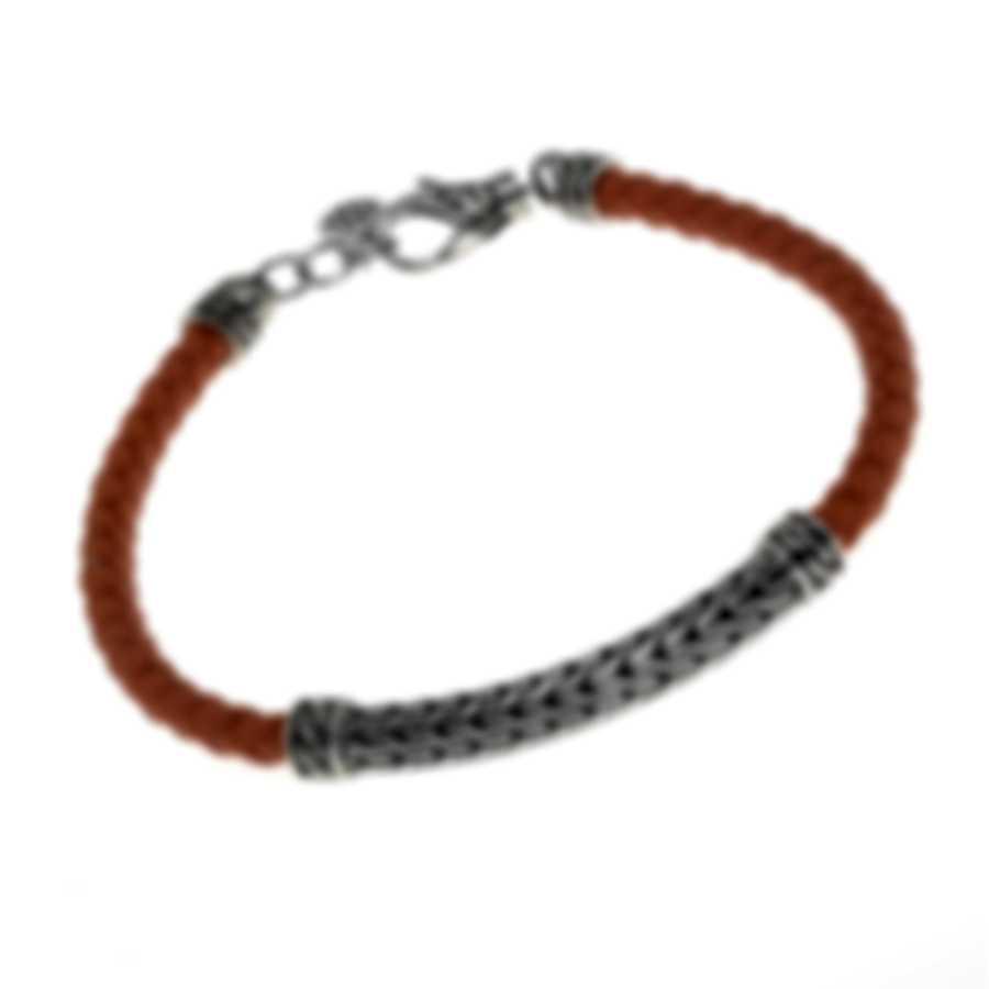 John Hardy Station Sterling Silver And Leather Bracelet BB900014ORXM