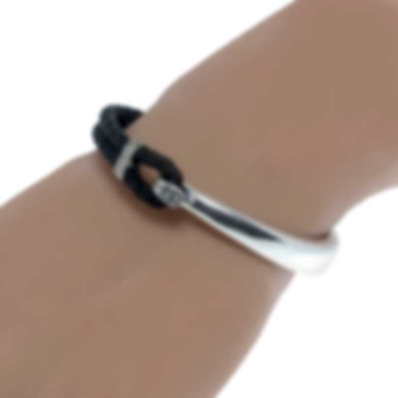 John Hardy Classic Chain Sterling Silver And Leather Bracelet BM999726BLXM