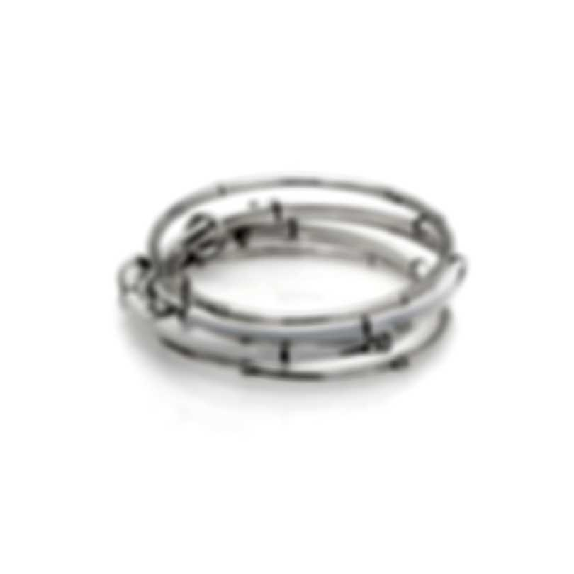 John Hardy Sterling Silver And Enamel Bamboo Bracelet BN5927WHXM