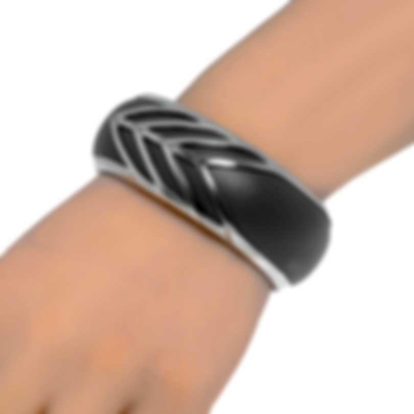 John Hardy Modern Chain Sterling Silver And Leather Bracelet CB90336GYXS