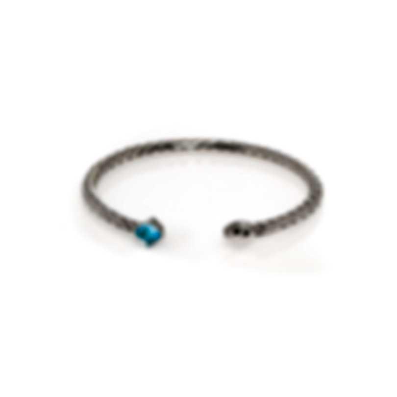 John Hardy Sterling Silver And Blue Topaz Bracelet CBS903501SBTXS-M