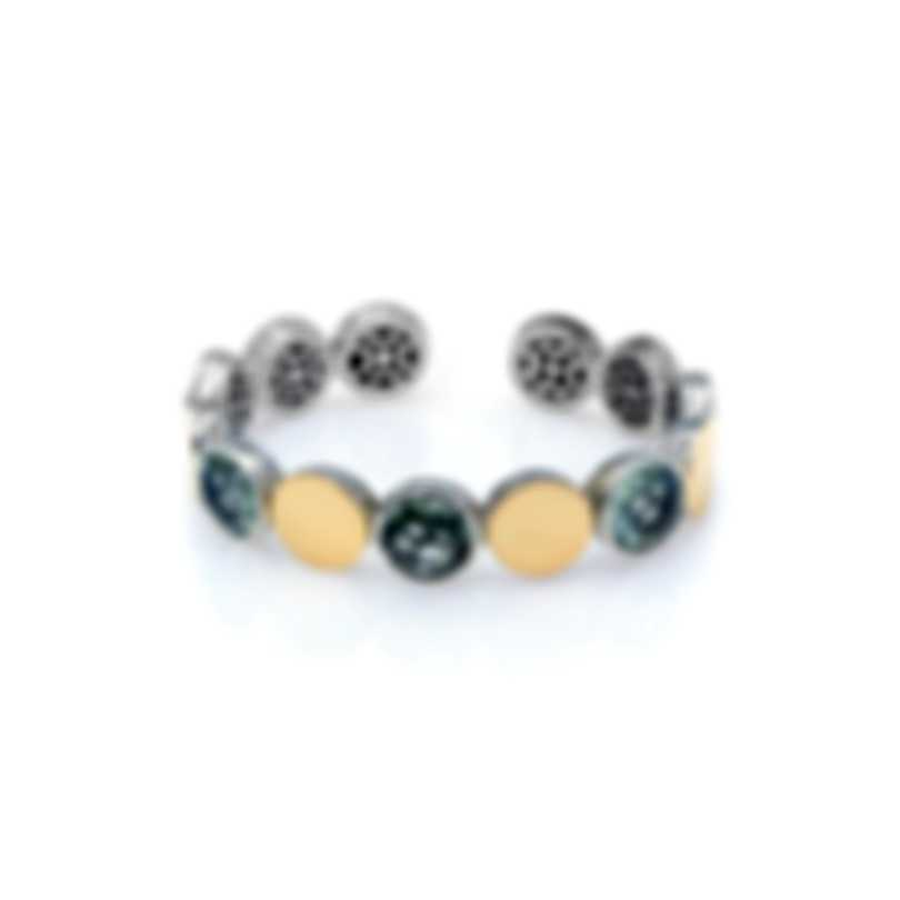 John Hardy Sterling Silver And 18k Yellow Gold And Green Amethyst Dot Bracelet CZS343021GAMXM