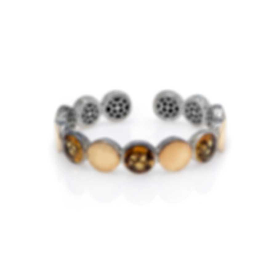 John Hardy Sterling Silver And 18k Yellow Gold And Hematite Dot Bracelet CZS343021HEXM