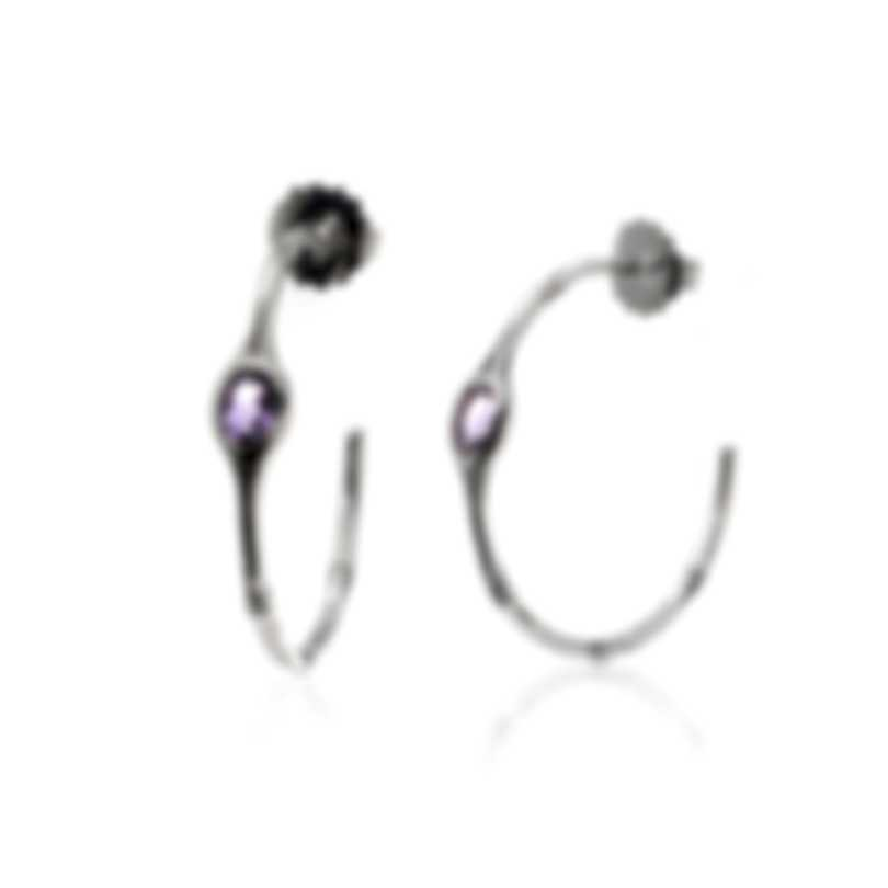 John Hardy Sterling Silver And Rose De France Bamboo Earrings EBS5308RDF
