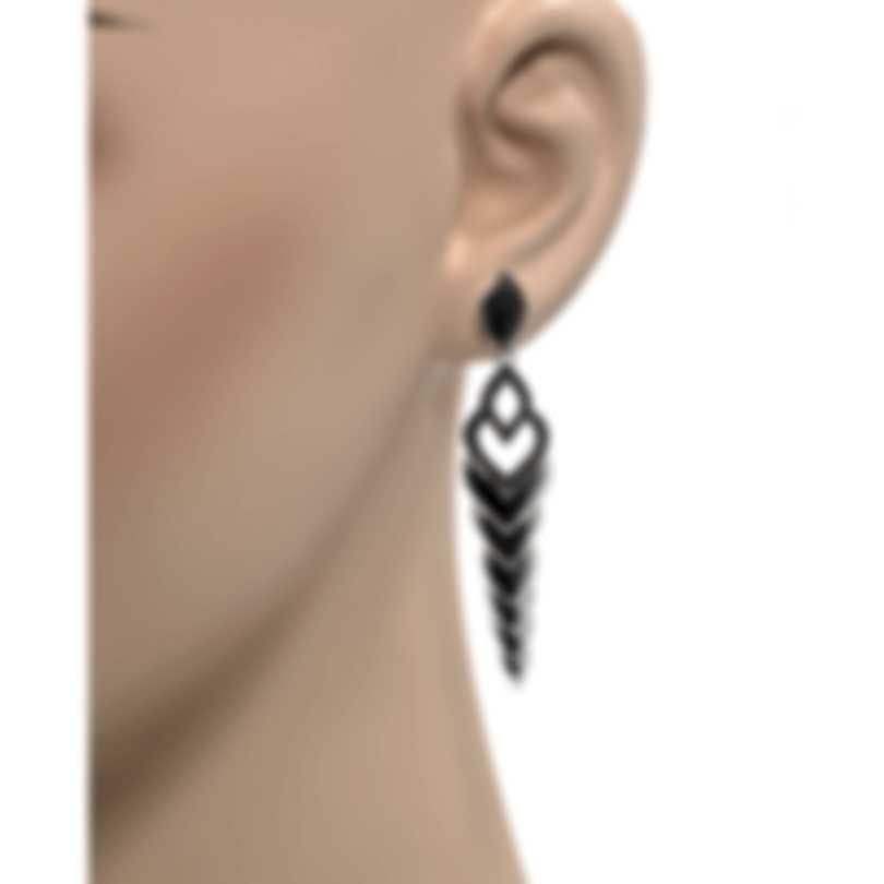 John Hardy Legends Naga Sterling Silver & Black Spinel Earrings EBS6501114BLSBN