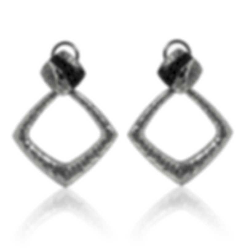 John Hardy Classic Sterling Silver And Black Sapphire Earrings EBS9001594BLSBN