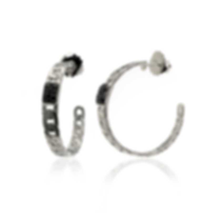 John Hardy Sterling Silver And Black Sapphire Chain Earrings EBS92711BLS