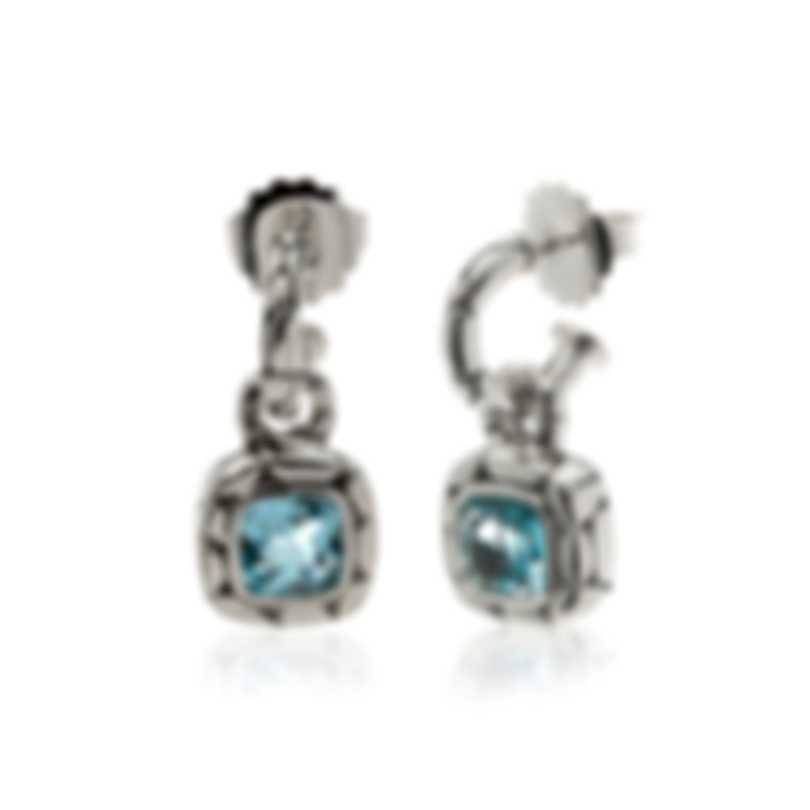 John Hardy Sterling Silver And Blue Topaz Kali Earrings EBS20173BT