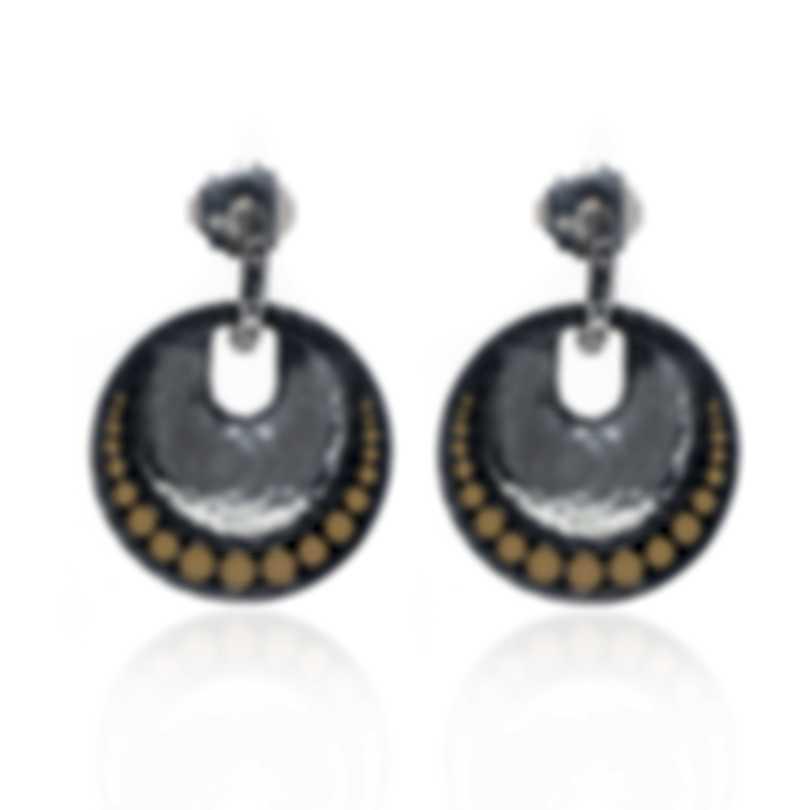 John Hardy Dot Sterling Silver And 18k Yellow Gold Earrings EZ30068