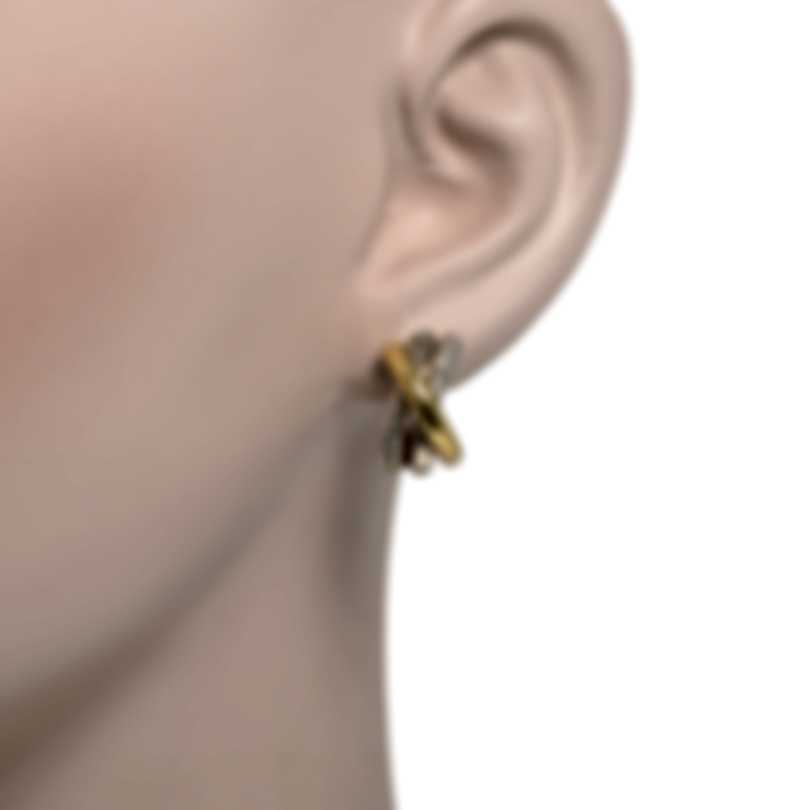 John Hardy Bamboo Sterling Silver And 18k Yellow Gold Earrings EZ5937