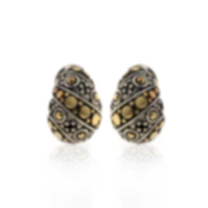 John Hardy Sterling Silver And 18k Yellow Gold Dot Earrings EZ62156