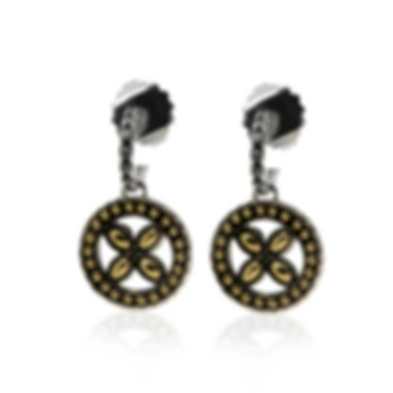 John Hardy Sterling Silver And 18k Yellow Gold Kawung Earrings EZ62253