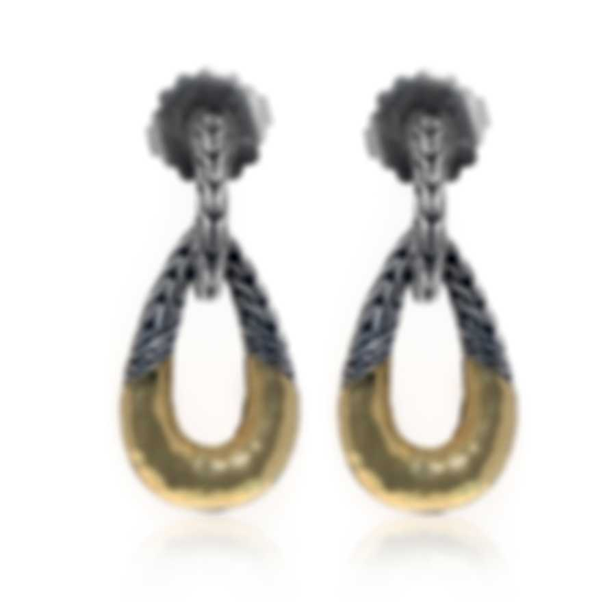 John Hardy Classic Chain Sterling Silver And 18k Yellow Gold Earrings EZ94554