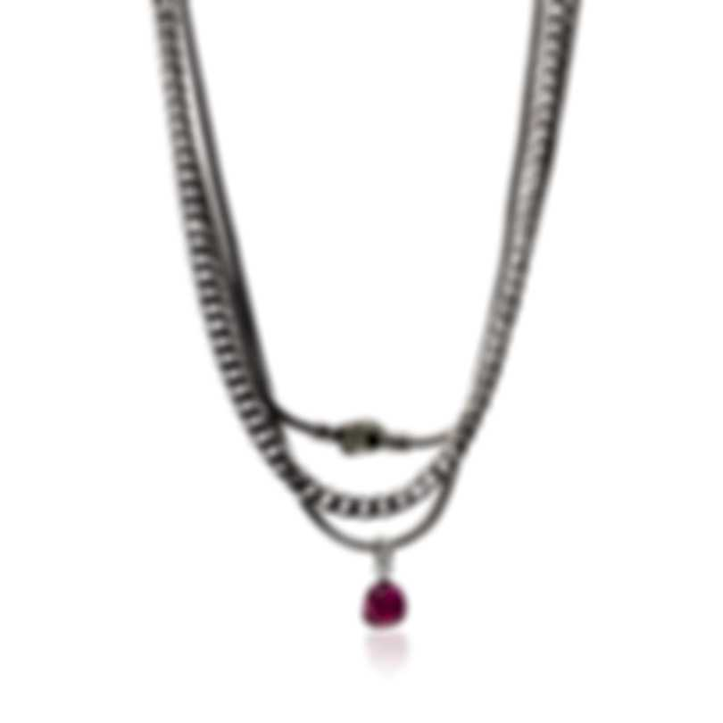 John Hardy Sterling Silver & Milky Rubelite Chain Necklace NBS903221MIRUPYX12-16