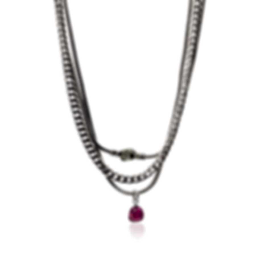 John Hardy Sterling Silver & Milky Rubelite Chain Necklace NBS903221MIRUPYX12-16