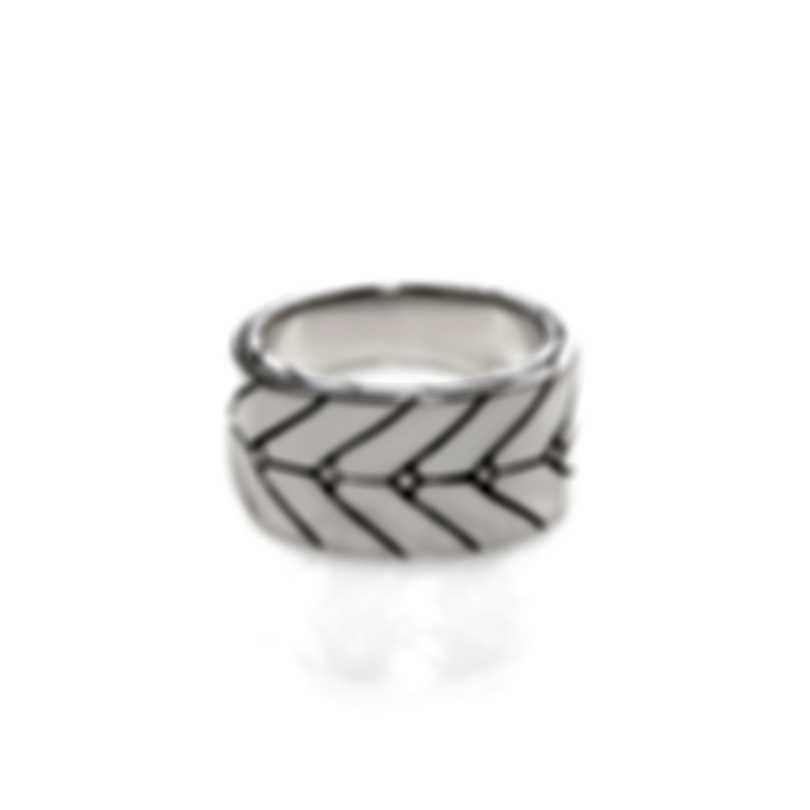 John Hardy Modern Chain Sterling Silver Ring Sz 10 RB93336X10