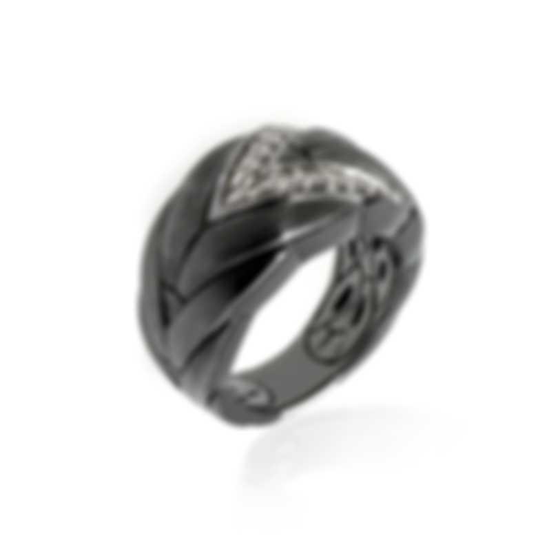 John Hardy Sterling Silver Diamond Chain Ring Sz 6 RBP94652BHMBRDDIX6