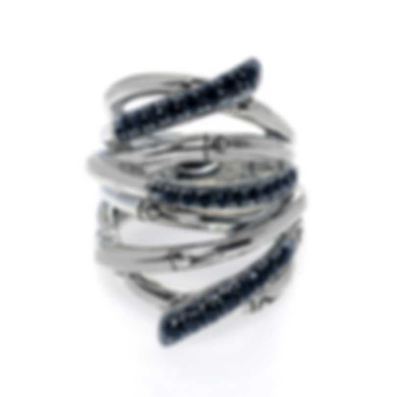 John Hardy Bamboo Sterling Silver And Black Sapphire Ring Sz 7.5 RBS58944BLSX7