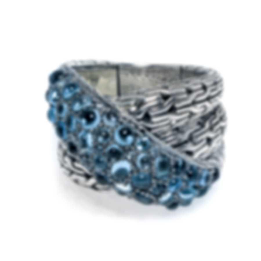 John Hardy Classic Chain Sterling Silver Blue Topaz Ring Sz 7 RBS902384MBTBZX6