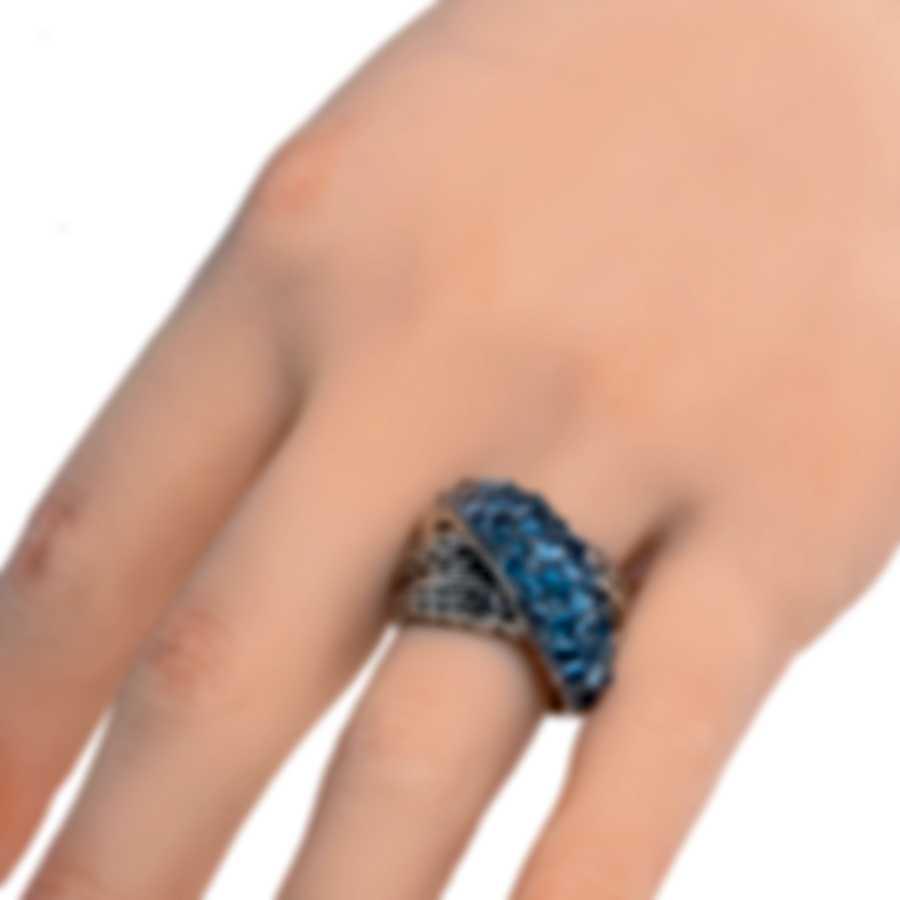 John Hardy Classic Chain Sterling Silver Blue Topaz Ring Sz 7 RBS902384MBTBZX7
