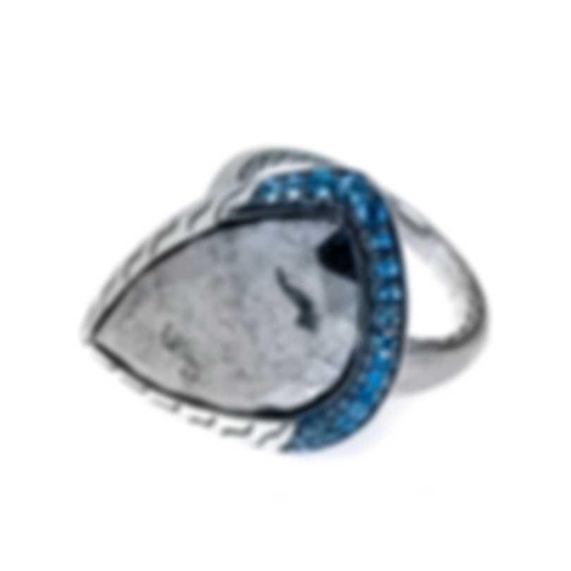 John Hardy Classic Chain Sterling Silver Blue Topaz Ring Sz 7 RBS903581MBTSCCX7