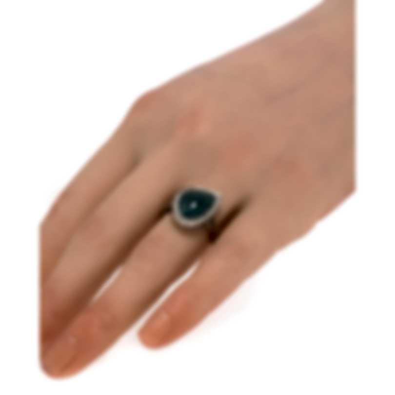 John Hardy Classic Chain Sterling Silver Diamond Ring Sz 7 RBS905311GDRDIX7