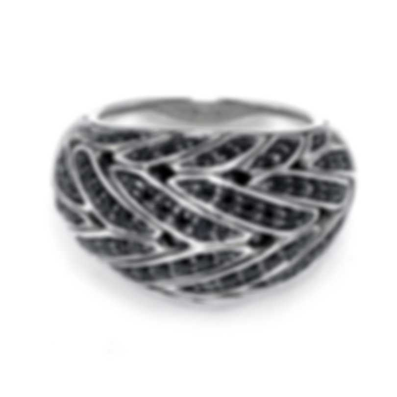John Hardy Classic Chain Sterling Silver And Black Spinel Ring Sz 7 RBS951394BLSBNX7