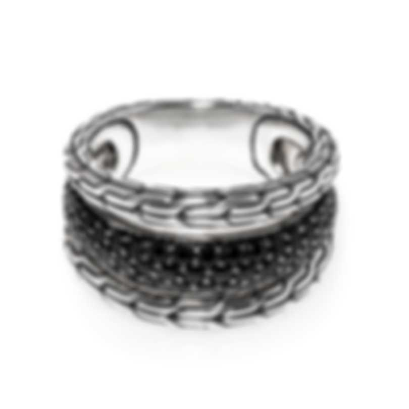 John Hardy Classic Sterling Silver And Black Sapphire Ring Sz 7.25 RBS9996984BLSBNX