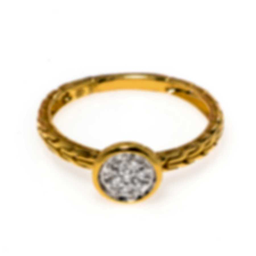 John Hardy Dot 18k Yellow Gold Diamond 0.06ct Ring Sz 7 RGX340162DIX7