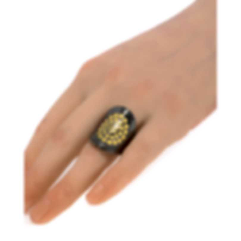 John Hardy Dot Moon Phase Sterling Silver And Gold Ring Sz 7 RZ30007BRDX7