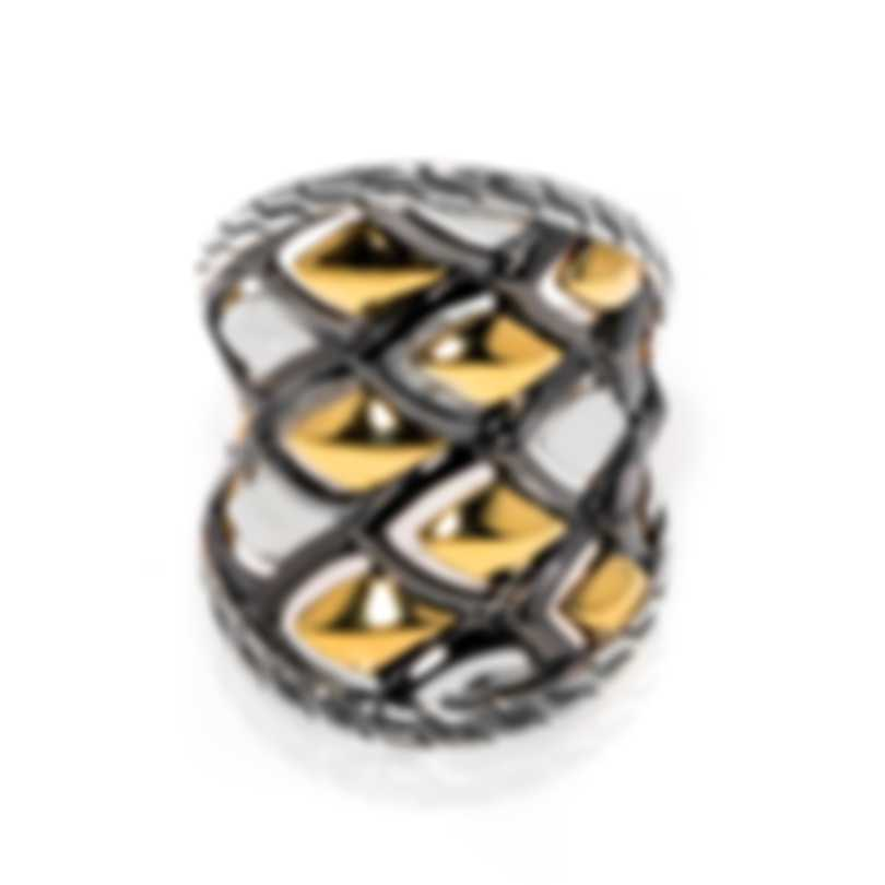 John Hardy Legends Naga Sterling Silver 18k Yellow Gold Ring Sz 7.25 RZ60168X7