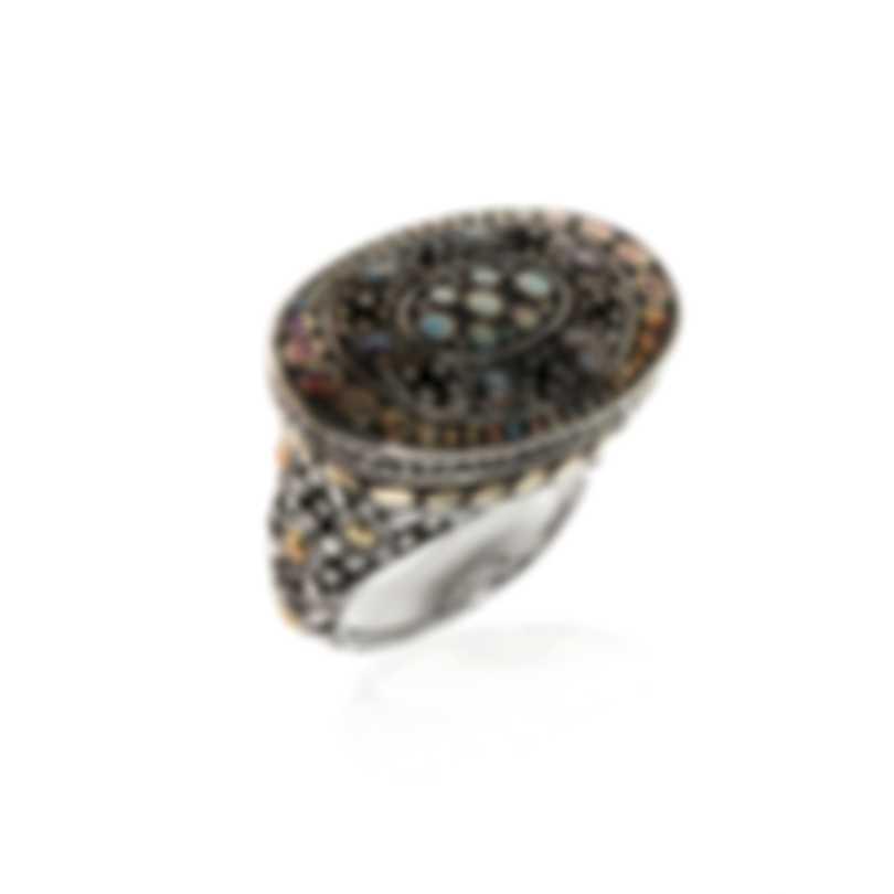 John Hardy Sterling Silver And 18k Yellow Gold Dot Ring Sz 7 RZ62135X7