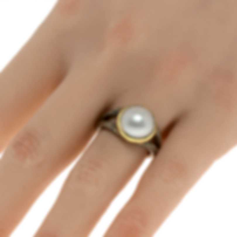 John Hardy Sterling Silver And 18k Yellow Gold And Pearl Ring Sz 7 RZ900462X7