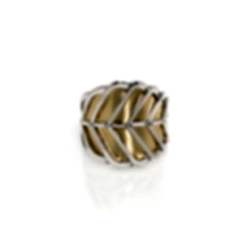 John Hardy Modern Chain Sterling Silver And Gold Ring Sz 7 RZ90342X7