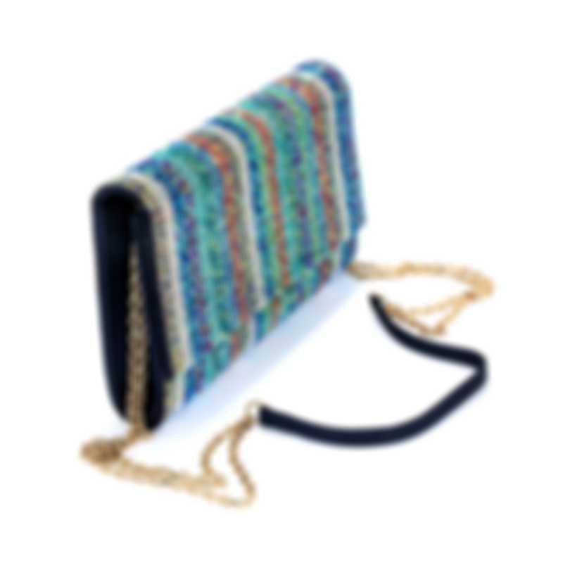 Judith Leiber Fizzoni Candy Stripe Multi Crystal And Satin Clutch Handbag H219009