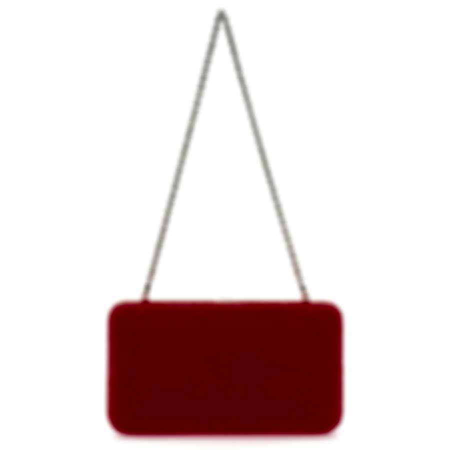 Judith Leiber Rectangle Neon Coral Crystal & Leather Clutch Handbag M187640