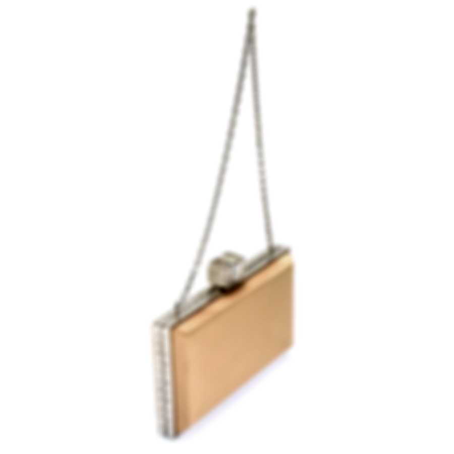 Judith Leiber Coffered Rectangle Champagne & Silver Satin Clutch Handbag M187901-Champagne