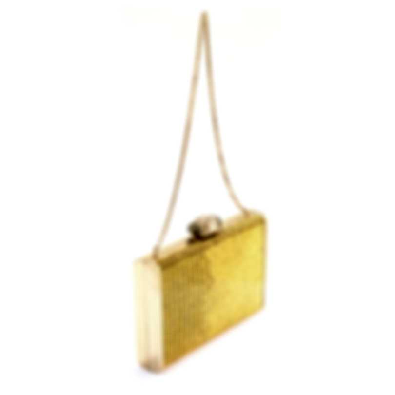 Judith Leiber Tall Slender Rectangle Gold Crystal And Leather Slim Clutch Handbag M188911