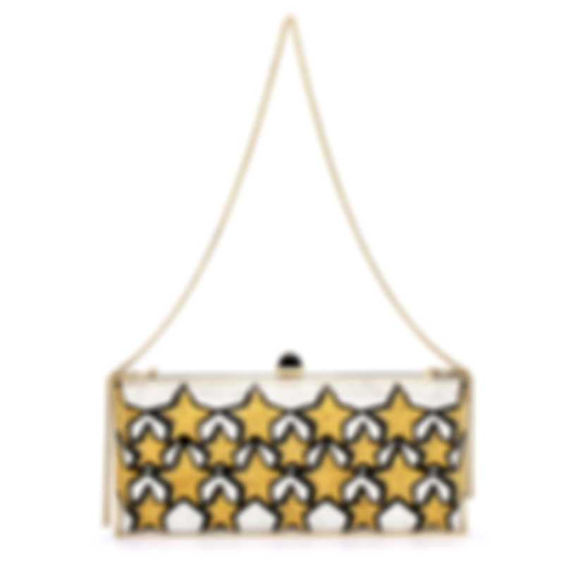 Judith Leiber Large Coffered Rectangle Gold & Silver Crystal And Leather Clutch Handbag M182319