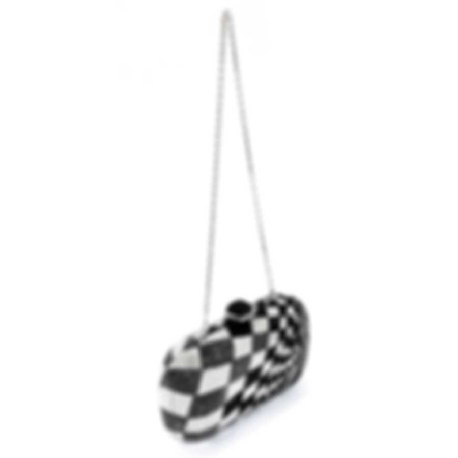 Judith Leiber Soap Dish Black/Silver Crystal & Leather Clutch Handbag M182803