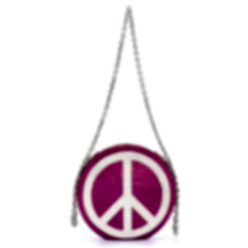 Judith Leiber Disc Peace Out Pink Crystal And Leather Clutch Handbag M195009